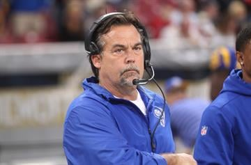 St. Louis Rams head football coach Jeff Fisher watches as his team takes to the field for a game against the New York Giants at the Edward Jones Dome in St. Louis on December 21, 2014.  UPI/Bill Greenblatt By BILL GREENBLATT