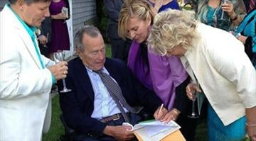 George H.W. Bush signs the marriage license as a witness at the ceremony joining Bonnie Clement and Helen Thorgalsen. / HELEN THORGALSEN/FACEBOOK By Sarah Heath
