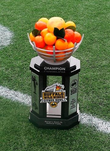 ORLANDO, FL - JANUARY 01:  The Buffalo Wild Wings Citrus Bowl trophy as seen at the Florida Citrus Bowl on January 1, 2015 in Orlando, Florida.  (Photo by Sam Greenwood/Getty Images) By Sam Greenwood