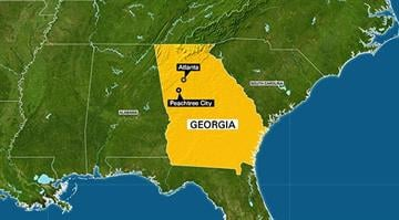 This map highlights the state of Georgia with the capital of Atlanta and city of Peachtree City called out. By Stephanie Baumer