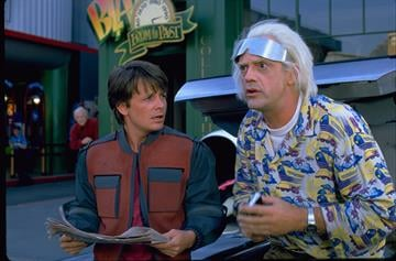 "In the 1989 film ""Back to the Future II,"" Marty McFly traveled to Oct. 21, 2015, a future with flying cars, auto-drying clothes and shoes that lace automatically. By From NBCU"