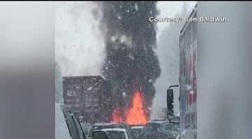 At least 35 vehicles were involved in two separate pileups on Interstate 93 in New Hampshire after some fast-moving snow squalls caused whiteout conditions Friday morning. By Stephanie Baumer