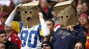 GLENDALE, AZ - DECEMBER 7: Fans of the St. Louis Rams look on during their NFL Game on December 7, 2008 at the University of Phoenix Stadium in Glendale, Arizona. (Photo by Donald Miralle/Getty Images)