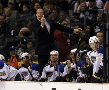 LOS ANGELES, CA - JANUARY 13:  Head coach Davis Payne of the St. Louis Blues handles bench duties against the Los Angeles Kings at the Staples Center on January 13, 2011 in Los Angeles, California.  (Photo by Bruce Bennett/Getty Images) By Bruce Bennett