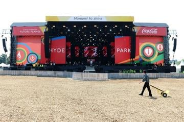 LONDON, ENGLAND - JULY 26:  A view of the stage prior to the London 2012 Olympic Torch Relay Finale Concert in London?s Hyde Park, presented by Coca-Cola on July 26, 2012 in London, United Kingdom.  (Photo by Ian Gavan/Getty Images) By Ian Gavan