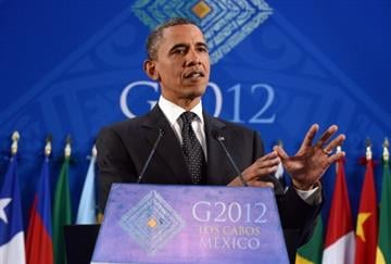 US President Barack Obama speaks during a press conference at the end of the G20 Summit of Heads of State and Government in Los Cabos, Baja California, Mexico on June 19, 2012. AFP PHOTO/Jewel Samad By JEWEL SAMAD