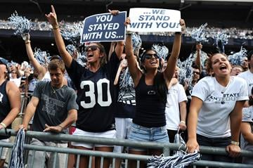 STATE COLLEGE, PA - SEPTEMBER 01: Fans cheer during play between the Penn State Nittany Lions and the Ohio Bobcats at Beaver Stadium on September 1, 2012 in State College, Pennsylvania. (Photo by Patrick Smith/Getty Images) By Patrick Smith