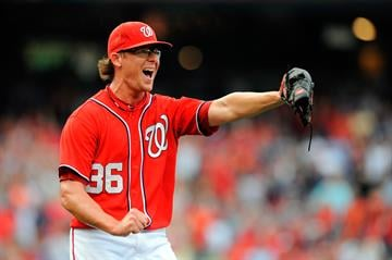 WASHINGTON, DC - SEPTEMBER 02:  Tyler Clippard #36 of the Washington Nationals celebrates after defeating the St. Louis Cardinals 4-3 at Nationals Park on September 2, 2012 in Washington, DC.  (Photo by Patrick McDermott/Getty Images) By Patrick McDermott
