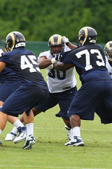 ST. LOUIS, MO - MAY 12: Michael Brockers #90 of the St. Louis Rams blocks during rookie mini camp at the ContinuityX Training Center on May 12, 2012 in St. Louis, Missouri. (Photo by Dilip Vishwanat/Getty Images) By Dilip Vishwanat