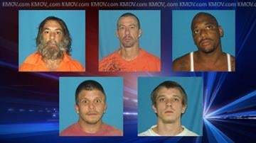 Jacob Darnell, 22, Jason Darnell, 25, Joseph Verive, 49, William John Thomas Wilkerson, Jr., 40, and  Emanuel Chatman, 27, escaped from the Pike County Detention Center on Saturday, Sept. 8. By Dan Mueller
