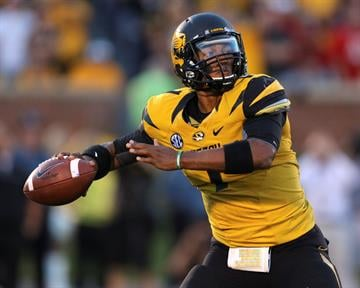 COLUMBIA , MO - SEPTEMBER 8: James Franklin #1 of the Missouri Tigers drops back to pass against the Georgia Bulldogs in the first quarter at Memorial Stadium on September 8, 2012 in Columbia, Missouri. (Photo by Ed Zurga/Getty Images) By Ed Zurga