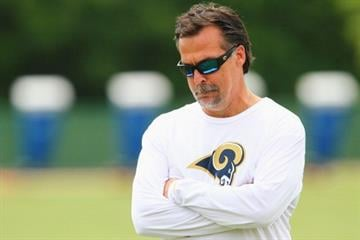 ST. LOUIS, MO - MAY 12: Head coach Jeff Fischer of the St. Louis Rams watches his players during rookie mini camp at the ContinuityX Training Center on May 12, 2012 in St. Louis, Missouri. (Photo by Dilip Vishwanat/Getty Images) By Dilip Vishwanat