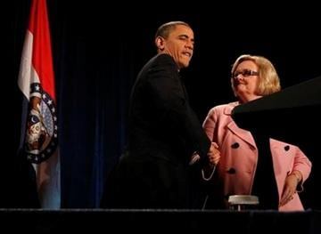 President Barack Obama arrives at a fundraising event for Sen. Claire McCaskill in St. Louis, Wednesday, March 10, 2010. (AP Photo/Charles Dharapak) By Charles Dharapak