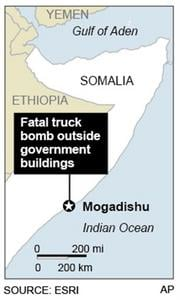 Map locates Mogadishu, Somalia, where truck bomb kill scores By F. Duckett