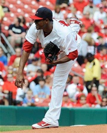 St. Louis Cardinals starting pitcher Edwin Jackson follows through on a delivery to the Chicago Cubs in the first inning in a baseball game Sunday, Sept. 25, 2011, in St. Louis. (AP Photo/Bill Boyce) By Bill Boyce