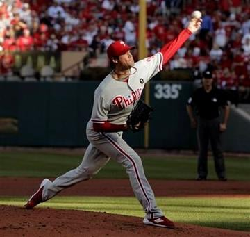 Philadelphia Phillies starting pitcher Cole Hamels throws during the second inning of Game 3 of baseball's National League division series against the St. Louis Cardinals on Tuesday, Oct. 4, 2011, in St. Louis. (AP Photo/Charlie Riedel) By Charlie Riedel