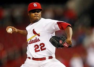 St. Louis Cardinals starting pitcher Edwin Jackson throws during the first inning of a baseball game against the Atlanta Braves, Friday, Sept. 9, 2011, in St. Louis. (AP Photo/Jeff Roberson) By Jeff Roberson
