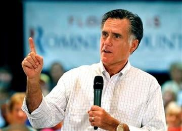 Republican presidential candidate former Massachusetts Gov. Mitt Romney speaks at a town hall meeting, Tuesday, Oct. 4, 2011, in The Villages, Fla. (AP Photo/Reinhold Matay) By Reinhold Matay