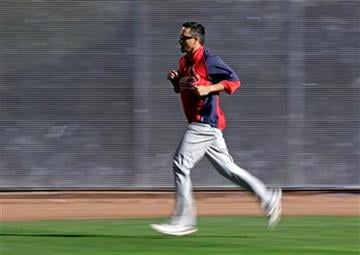 St. Louis Cardinals starting pitcher Kyle Lohse runs during a practice session for baseball's National League championship series against the Milwaukee Brewers Saturday, Oct. 8, 2011, in Milwaukee. (AP Photo/David J. Phillip) By David J. Phillip