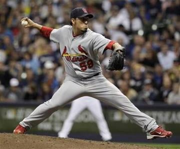 St. Louis Cardinals relief pitcher Fernando Salas throws during the sixth inning of Game 2 of baseball's National League championship series against the Milwaukee Brewers Monday, Oct. 10, 2011, in Milwaukee. (AP Photo/Matt Slocum) By Matt Slocum