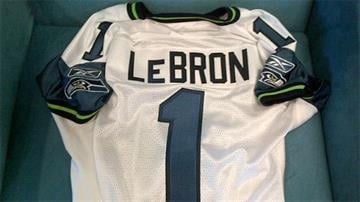 This picture appeared on Seahawks head coach Pete Carroll's Twitter account Thursday, addressed to basketball superstar LeBron James.