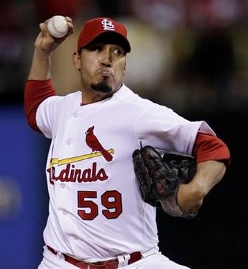 St. Louis Cardinals relief pitcher Fernando Salas throws during the eighth inning of Game 4 of baseball's National League championship series against the Milwaukee Brewers Thursday, Oct. 13, 2011, in St. Louis. (AP Photo/Matt Slocum) By Matt Slocum