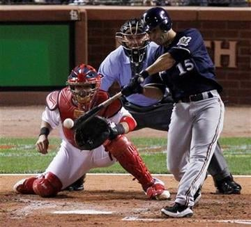 Milwaukee Brewers' Jerry Hairston Jr. hits a RBI double during the fourth inning of Game 4 of baseball's National League championship series against the St. Louis Cardinals Thursday, Oct. 13, 2011, in St. Louis. (AP Photo/Jeff Roberson) By Jeff Roberson