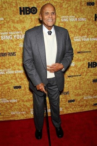 "In this Oct. 6, 2011 photo, actor Harry Belafonte poses at the New York Premiere of the HBO Documentary ""Sing Your Song"" about Belafonte's life at The Apollo Theater in New York. (AP Photo/Starpix, Marion Curtis) By Marion Curtis"