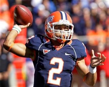 Illinois quarterback Nathan Scheelhaase passes the ball during the first half of an NCAA college football game against Ohio State on Saturday, Oct. 15, 2011, in Champaign, Ill. Ohio State won 17-7. (AP Photo/Seth Perlman) By Seth Perlman