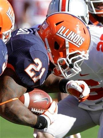 Illinois running back Jason Ford runs with the ball against Ohio State during the first half of an NCAA college football game Saturday, Oct. 15, 2011 in Champaign, Ill. Ohio State won 17-7. (AP Photo/Seth Perlman) By Seth Perlman