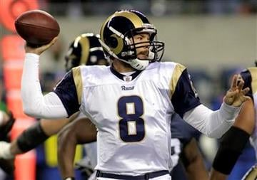 St. Louis Rams quarterback Sam Bradford sets to pass in the first half of an NFL football game against the Seattle Seahawks, Monday, Dec. 12, 2011, in Seattle. (AP Photo/Ted S. Warren) By Ted S. Warren