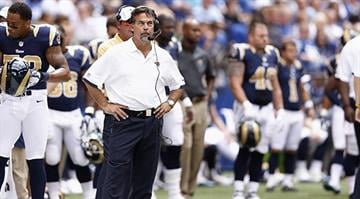 INDIANAPOLIS, IN - AUGUST 12: Head coach Jeff Fisher of the St. Louis Rams looks on against the Indianapolis Colts during a preseason NFL game at Lucas Oil Stadium on August 12, 2012 in Indianapolis, Indiana. (Photo by Joe Robbins/Getty Images)