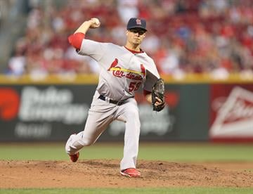 CINCINNATI, OH - AUGUST 24:  Joe Kelly #58 of the St.Louis Cardinals throws a pitch during the game against the Cincinnati Reds at Great American Ball Park on August 24, 2012 in Cincinnati, Ohio.  (Photo by Andy Lyons/Getty Images) By Andy Lyons