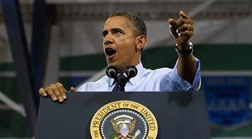 US President Barack Obama delivers remarks during a campaign event at Canyon Springs High School in Las Vegas, Nevada, August 22, 2012. (Photo credit: JIM WATSON/AFP/GettyImages)