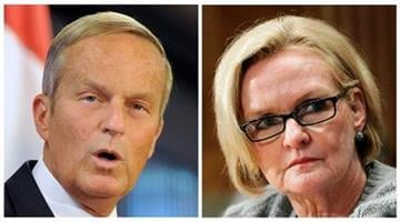 This photo combo shows U.S. Rep. Todd Akin, R-Mo., left, and Sen. Claire McCaskill, D-Mo. (AP Photo/Sid Hastings, Manuel Balce Ceneta) By Dan Mueller