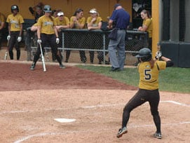 Michaele Vock gets ready to bat, Sunday, May 2, 2010 at University Field in Columbia, Mo. against the Baylor Bears. By Denisha Thomas