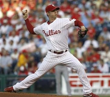 Philadelphia Phillies starting pitcher Kyle Kendrick throws against the St. Louis Cardinals in the first inning of a baseball game Wednesday, May 5, 2010, in Philadelphia. The Phillies win 4-0. (AP Photo/H. Rumph Jr) By H. Rumph  Jr