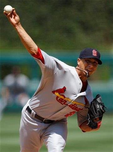 St. Louis Cardinals' Kyle Lohse pitches in the first inning of a baseball game against the Philadelphia Phillies, Thursday, May 6, 2010, in Philadelphia. (AP Photo/Matt Slocum) By Matt Slocum