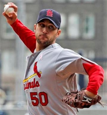 St. Louis Cardinals pitcher Adam Wainwright throws in the second inning  during a baseball game against the Pittsburgh Pirates in Pittsburgh Sunday, May 9, 2010. (AP Photo/Gene J. Puskar) By Gene J. Puskar