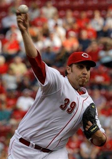 Cincinnati Reds starting pitcher Aaron Harang throws against the St. Louis Cardinals in the first inning of a baseball game, Friday, May 14, 2010, in Cincinnati. (AP Photo/Al Behrman) By Al Behrman