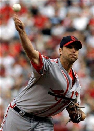 St. Louis Cardinals starting pitcher Adam Wainwright works against the Cincinnati Reds in the first inning of a baseball game, Saturday, May 15, 2010, in Cincinnati. (AP Photo/Al Behrman) By Al Behrman