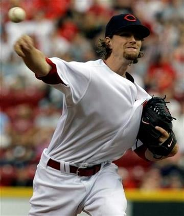 Cincinnati Reds starting pitcher Mike Leake works against the St. Louis Cardinals in the first  inning of a baseball game, Saturday, May 15, 2010, in Cincinnati. (AP Photo/Al Behrman) By Al Behrman