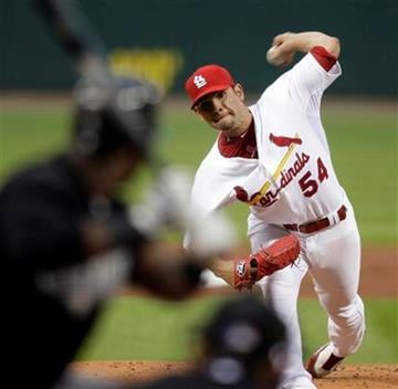 St. Louis Cardinals starting pitcher Jaime Garcia, right, throws to Florida Marlins' Hanley Ramirez during the first inning of a baseball game Wednesday, May 19, 2010, in St. Louis. (AP Photo/Jeff Roberson) By Jeff Roberson