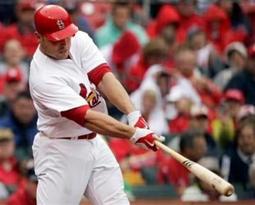 St. Louis Cardinals' Matt Holliday hits a two-run double during the second inning of a baseball game against the Florida Marlins, Thursday, May 20, 2010, in St. Louis. The Cardinals won 4-2. (AP Photo/Jeff Roberson) By Jeff Roberson