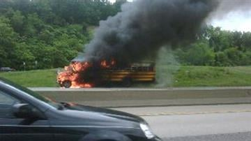 A school bus is engulfed in flames. Taken by News 4 viewer Brandy Kennon.