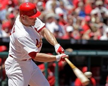 St. Louis Cardinals' Matt Holliday connects for a solo home run in the second inning of a baseball game against the Los Angeles Angels, Saturday, May 22, 2010 in St. Louis.(AP Photo/Tom Gannam) By Tom Gannam