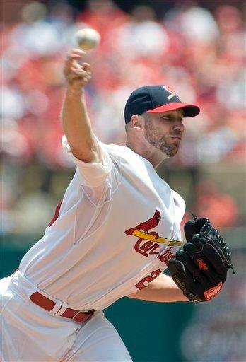 St. Louis Cardinals' starting pitcher Chris Carpenter throws during the first inning of a baseball game against the Los Angeles Angels, Sunday, May 23, 2010, in St. Louis. (AP Photo/Jeff Curry) By Jeff Curry