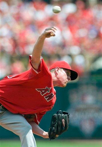 Los Angeles Angels' starting pitcher Jered Weaver throws during the second inning of a baseball game against the St. Louis Cardinals Sunday, May 23, 2010, in St. Louis. (AP Photo/Jeff Curry) By Jeff Curry