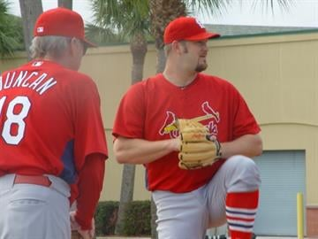 Cardinals pitching coach Dave Duncan watches intently as right-hander Brad Penny throws a bullpen session. By Lakisha Jackson