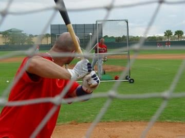 Albert Pujols waits to hit a pitch during live batting practice Wednesday morning. By Lakisha Jackson
